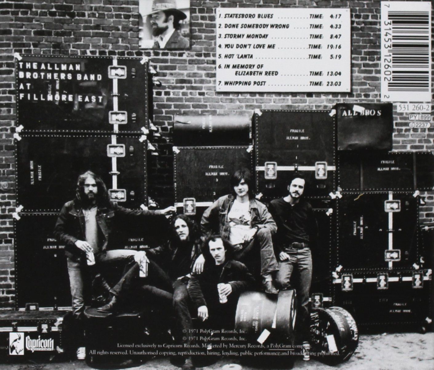 The Allman Brothers Band Recorded Live At Fillmore East ...